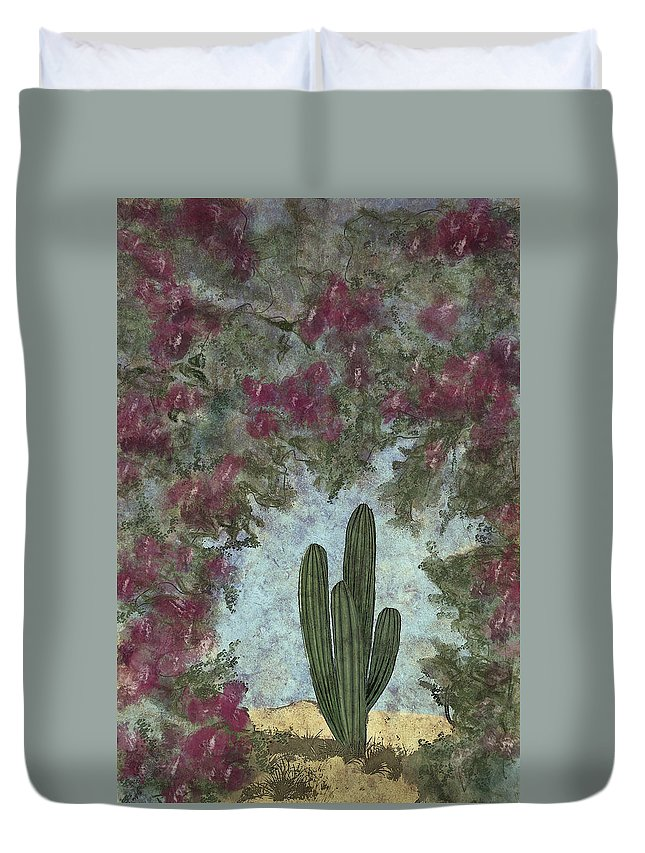 Cactus Duvet Cover featuring the painting Standing Tall by Annette Berglund