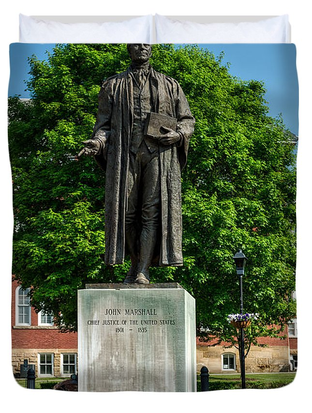 Statue Duvet Cover featuring the photograph Statue Of Chief Justice John Marshall by Mountain Dreams