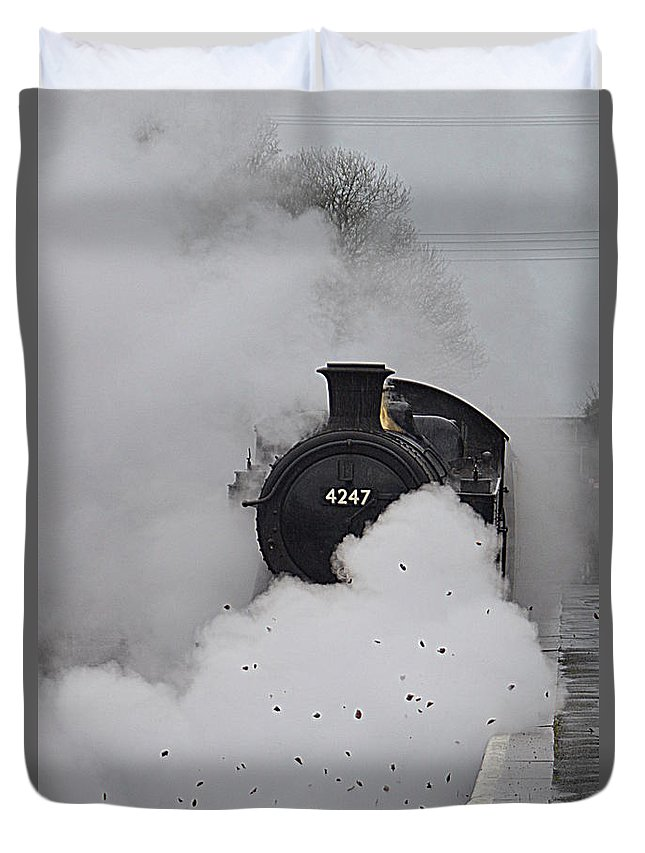 Train Duvet Cover featuring the photograph Steam Train by Andy Thompson