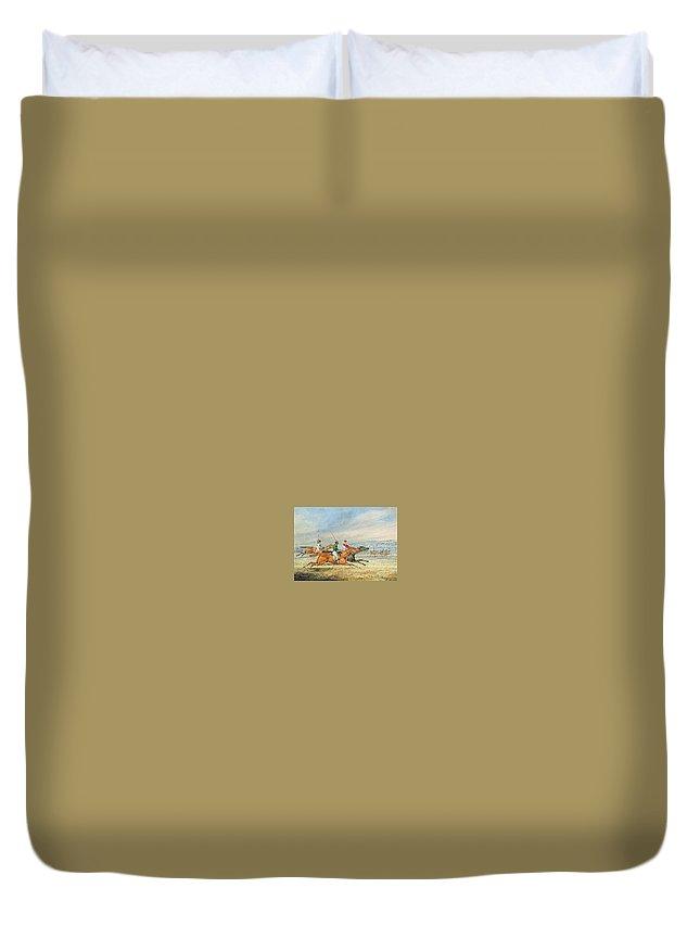 Beach Duvet Cover featuring the digital art Steeplechasing Henry Thomas Alken by Eloisa Mannion