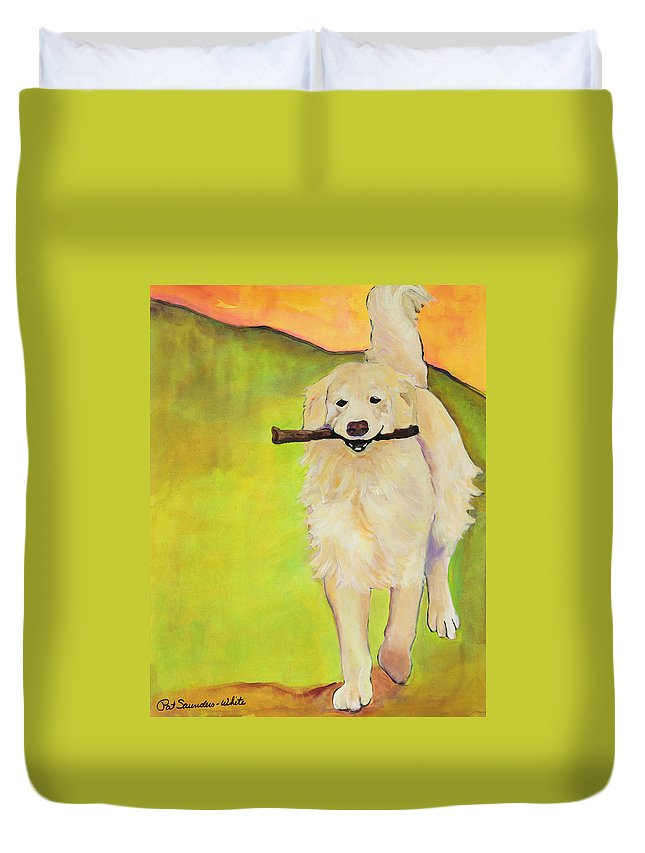 Dog Portraits Duvet Cover featuring the painting Stick Together by Pat Saunders-White