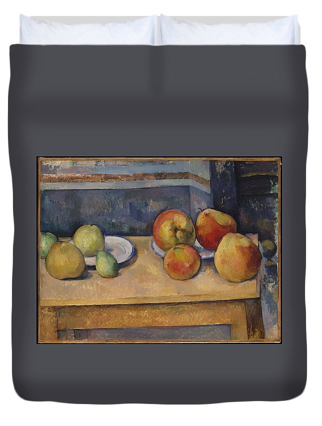 Paul Czanne Still Life With Apples And Pears Duvet Cover featuring the painting Still Life With Apples And Pears by Paul Czanne