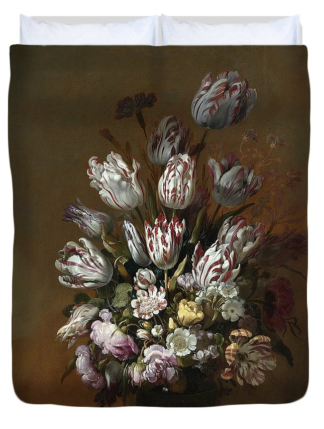 Vase Duvet Cover featuring the painting Still Life With Flowers by Hans Bollongier