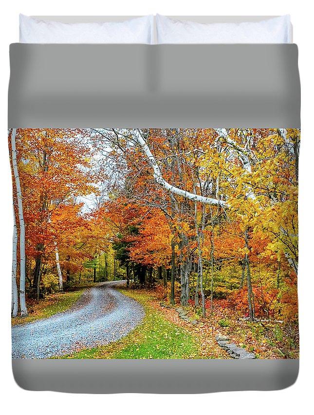 Autumn Duvet Cover featuring the photograph Stone Autumn Road by Krystal Billett