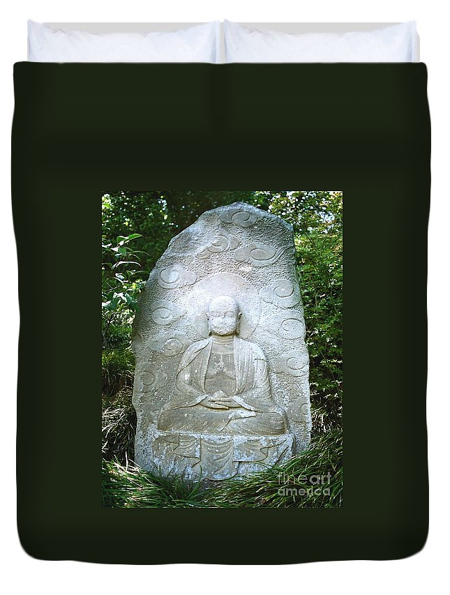 Stone Duvet Cover featuring the photograph Stone Buddha by Dean Triolo