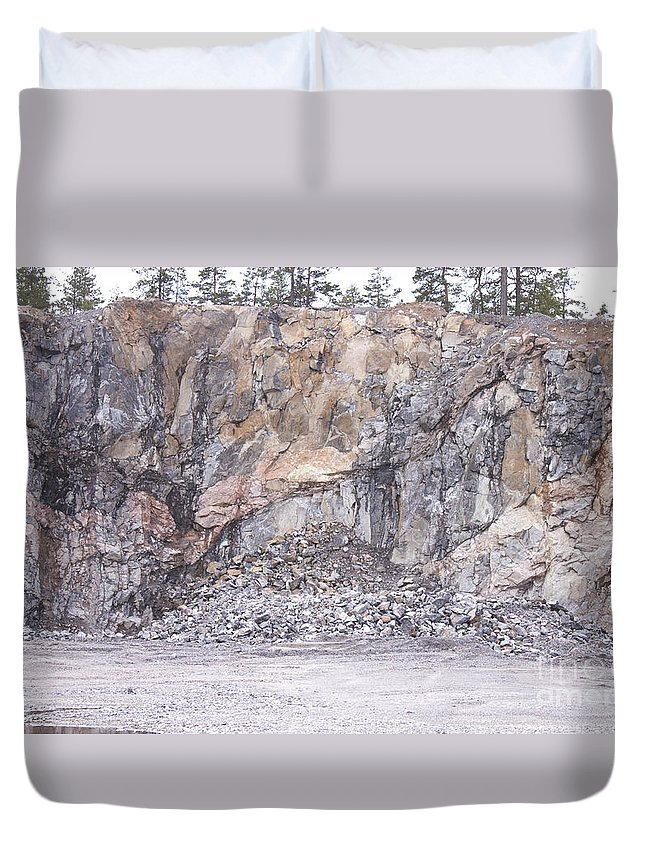 Stone Duvet Cover featuring the photograph Stone Mine by D R