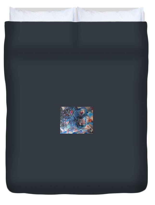 Abstract Paintings Duvet Cover featuring the painting Storm At Sea by Seon-Jeong Kim