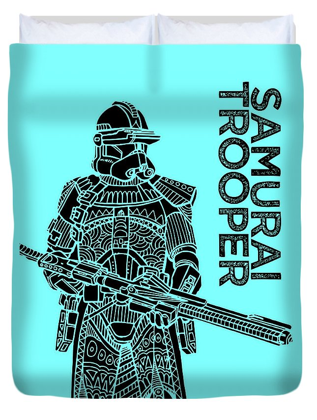 Stormtrooper Duvet Cover featuring the mixed media Stormtrooper - Star Wars Art - Blue by Studio Grafiikka