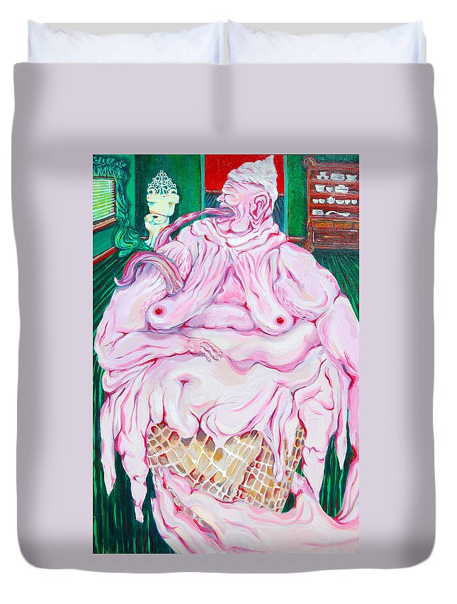 Surreal Duvet Cover featuring the painting Strawberry Sherbet by Julie Fischer