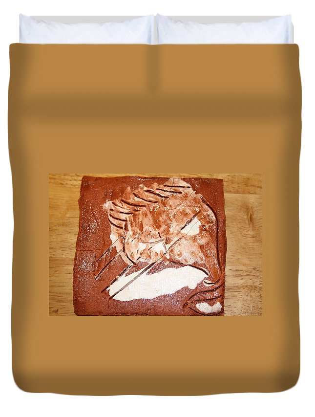 Jesus Duvet Cover featuring the ceramic art Stream - Tile by Gloria Ssali