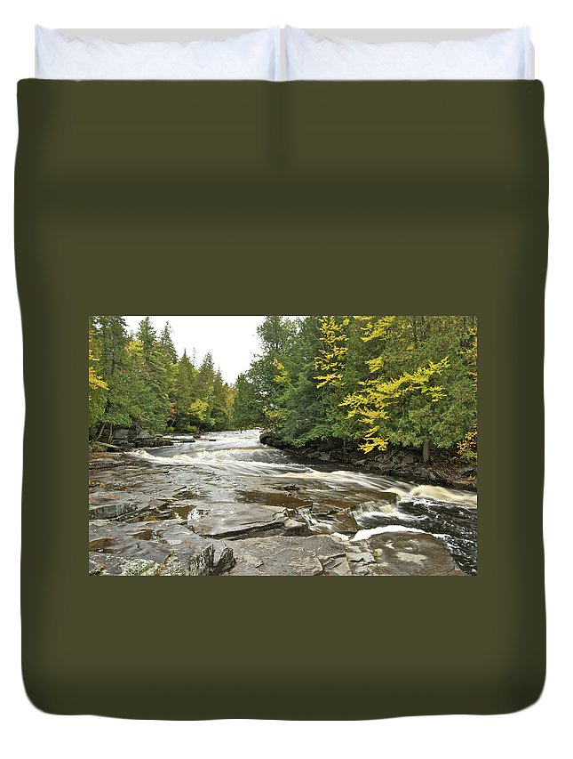 Michigan Duvet Cover featuring the photograph Sturgeon River by Michael Peychich