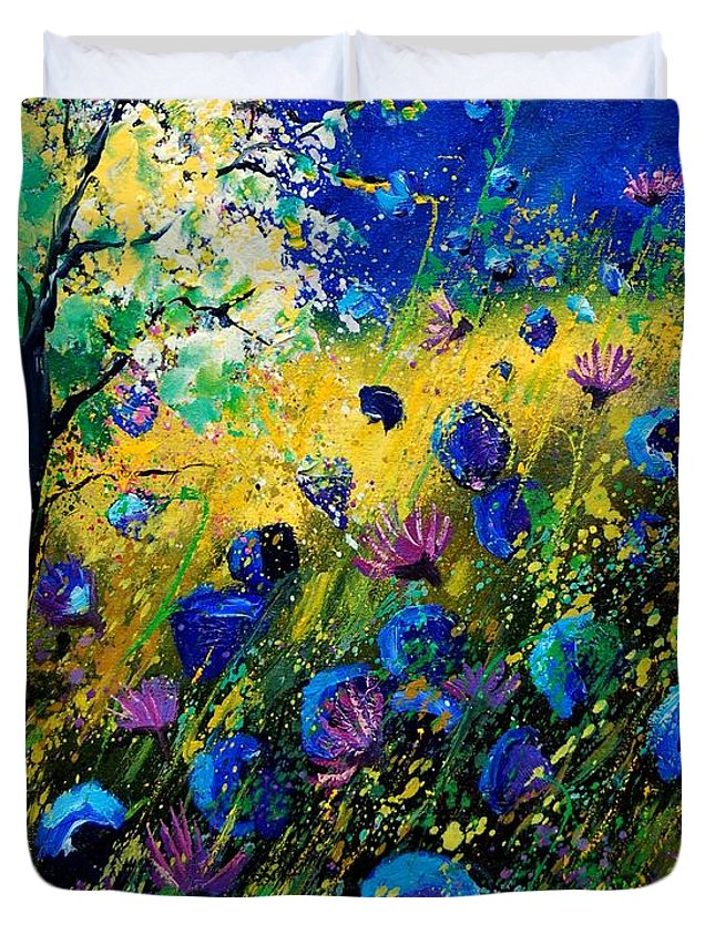 Poppies Duvet Cover featuring the painting Summer 450208 by Pol Ledent