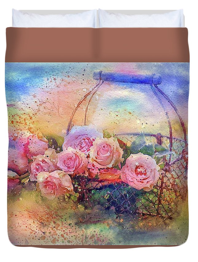 Summer Flowers Duvet Cover featuring the mixed media Summer Flowers by Lilia D