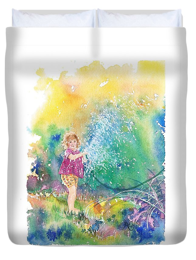 Children Duvet Cover featuring the painting Summer Fun by Gale Cochran-Smith