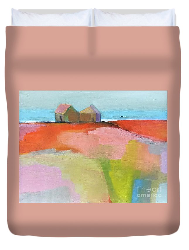 Landscape Duvet Cover featuring the painting Summer Heat by Michelle Abrams