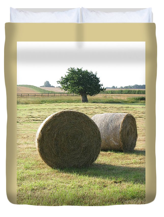 Haybales Duvet Cover featuring the photograph Summer by Maria Joy
