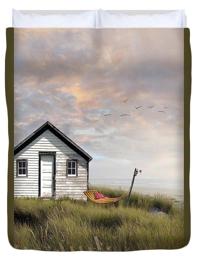 Bird; House; Birds; Houses; Blackbird; Ivy; Brick; Manor Duvet Cover featuring the photograph Summer Shack With Hammock By The Ocean by Sandra Cunningham