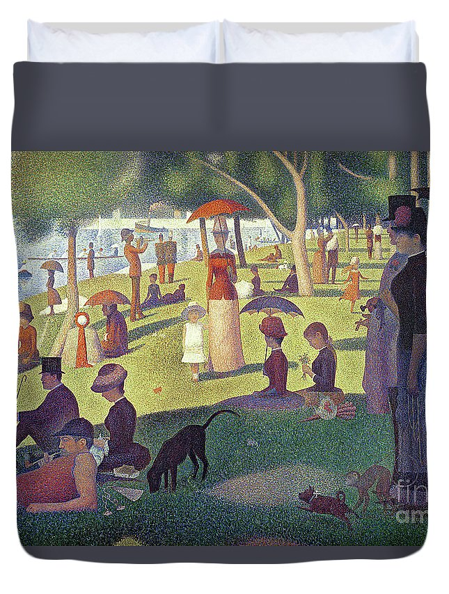 Sunday Afternoon On The Island Of La Grande Jatte Duvet Cover featuring the painting Sunday Afternoon On The Island Of La Grande Jatte by Georges Pierre Seurat