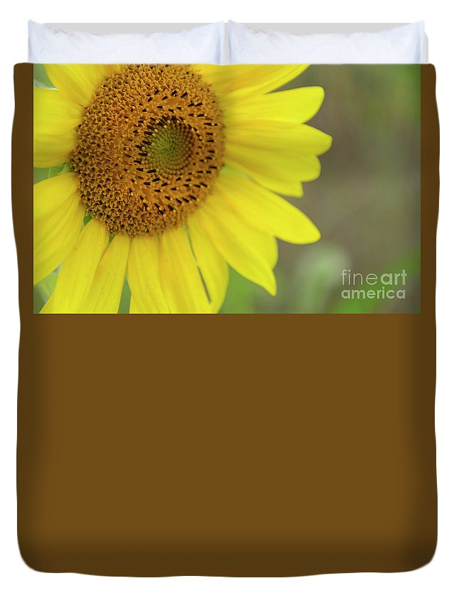Bee Duvet Cover featuring the photograph Sunflower by Debra Fedchin
