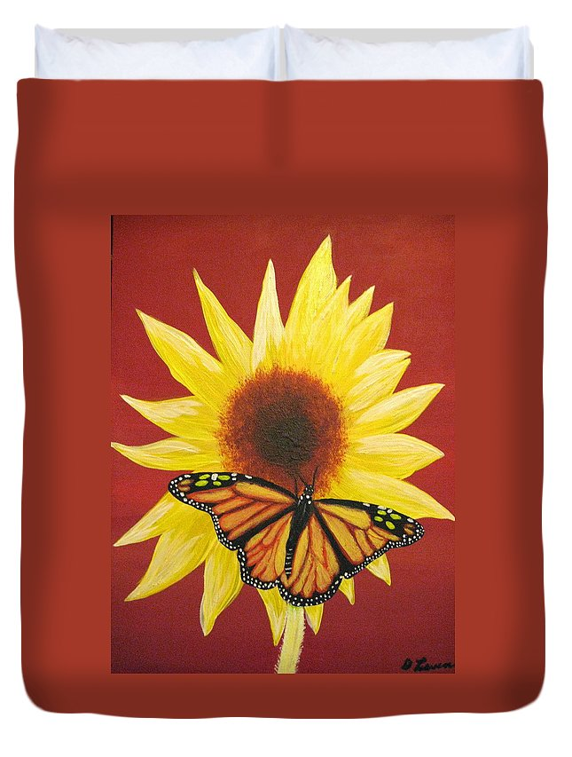 Sunflower Duvet Cover featuring the painting Sunflower Monarch by Debbie Levene