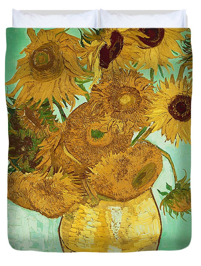 Sunflowers Duvet Cover featuring the painting Sunflowers by Van Gogh by Vincent Van Gogh