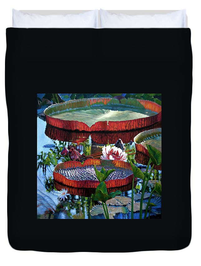 Water Lilies Duvet Cover featuring the painting Sunlight Shining Through by John Lautermilch