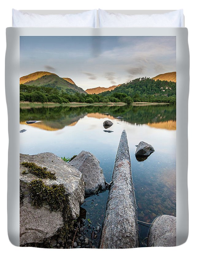 Landscape Duvet Cover featuring the photograph Sunrise at Ullswater, Lake District, North West England by Anthony Lawlor