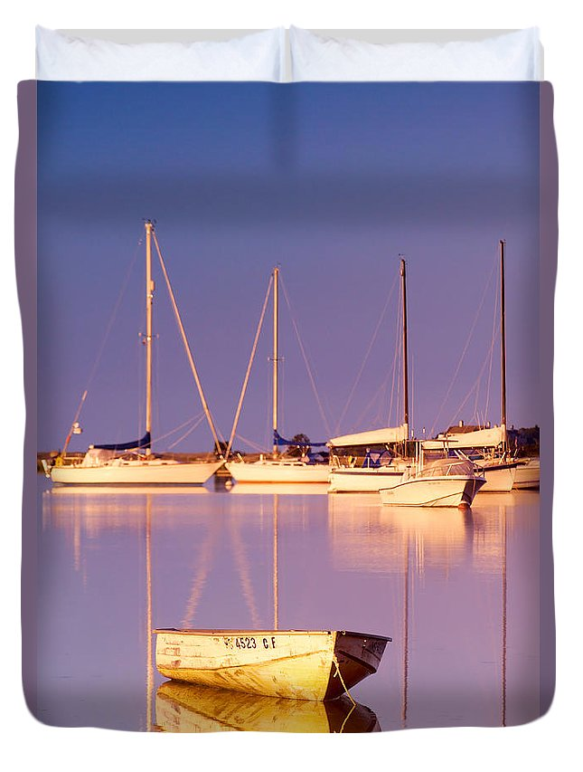 Sunrise Duvet Cover featuring the photograph Sunrise At West Bay Osterville Cape Cod by Matt Suess