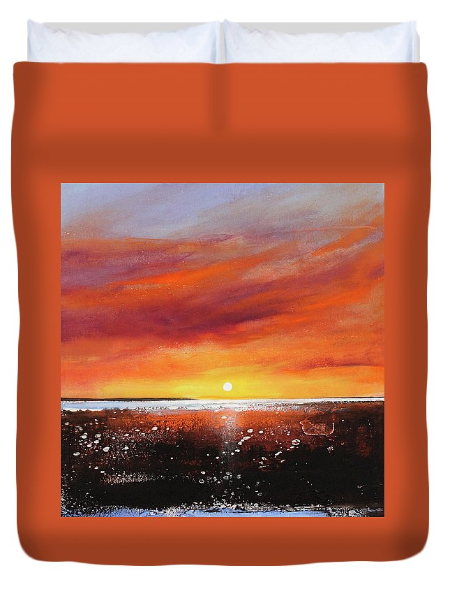 Sunrise Duvet Cover featuring the painting Sunrise Beach by Toni Grote