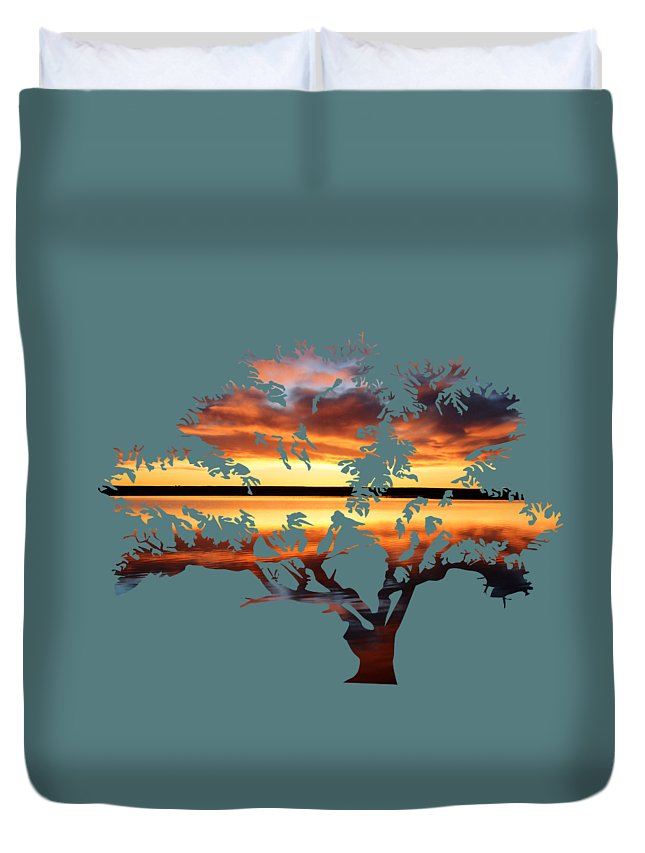 Sunrise Duvet Cover featuring the photograph Sunrise Tree by Whispering Peaks Photography