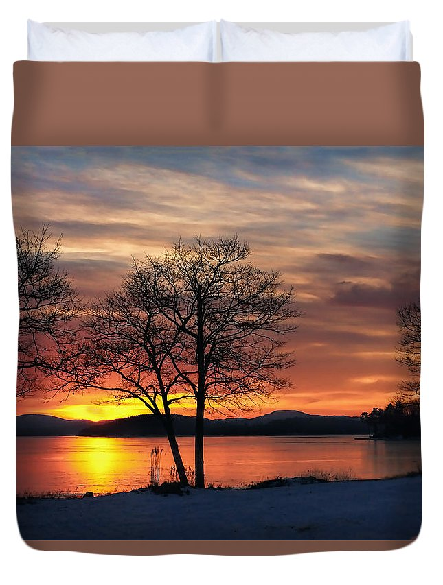 Dawn Duvet Cover featuring the photograph Sunrise Winnipesaukee by Stephen Anthony