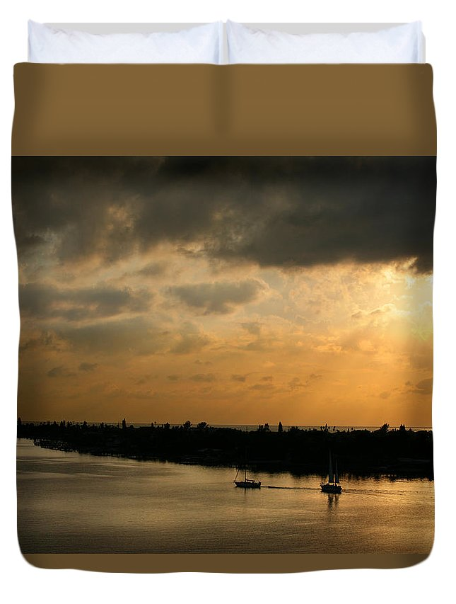 Photograph Duvet Cover featuring the photograph Sunset At Pass A Grille Florida by Mal Bray
