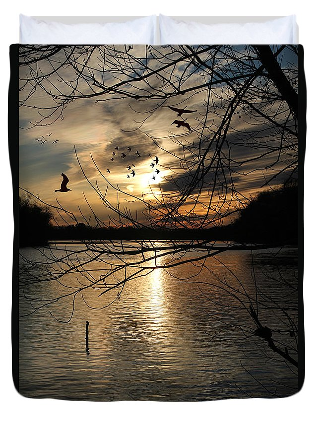 Sunset Duvet Cover featuring the photograph Sunset At The Lake by Ericamaxine Price