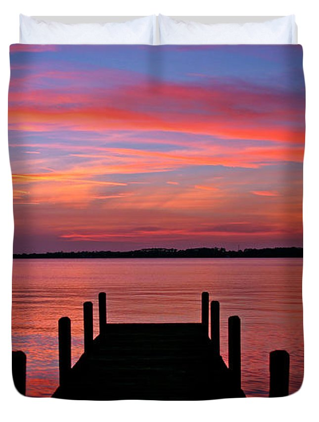 Dock Duvet Cover featuring the photograph Sunset Dock by Scott Mahon