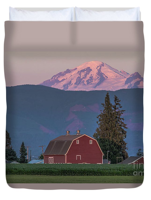 Red Barn Duvet Cover featuring the photograph Sunset Reflection On Mt. Baker by Randy Small