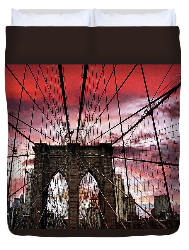 Brooklyn Bridge Duvet Cover featuring the photograph Sunset Gothic by Jessica Jenney