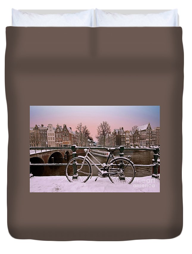 Snow Duvet Cover featuring the photograph Sunset In Snowy Amsterdam In The Netherlands In Winter by Nisangha Ji