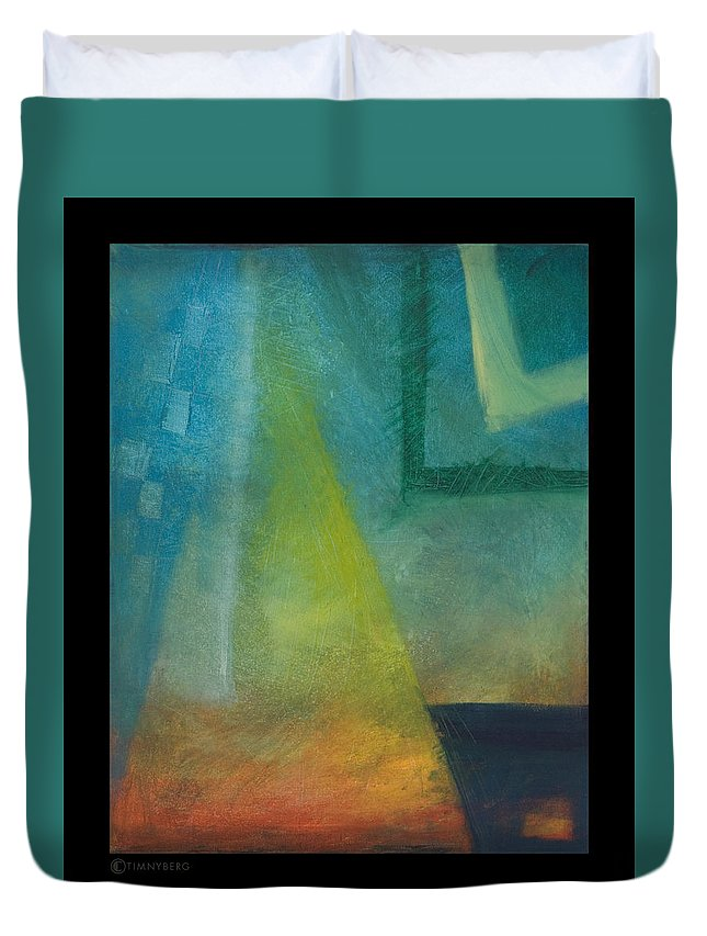 Sunset Duvet Cover featuring the painting Sunset Sail by Tim Nyberg