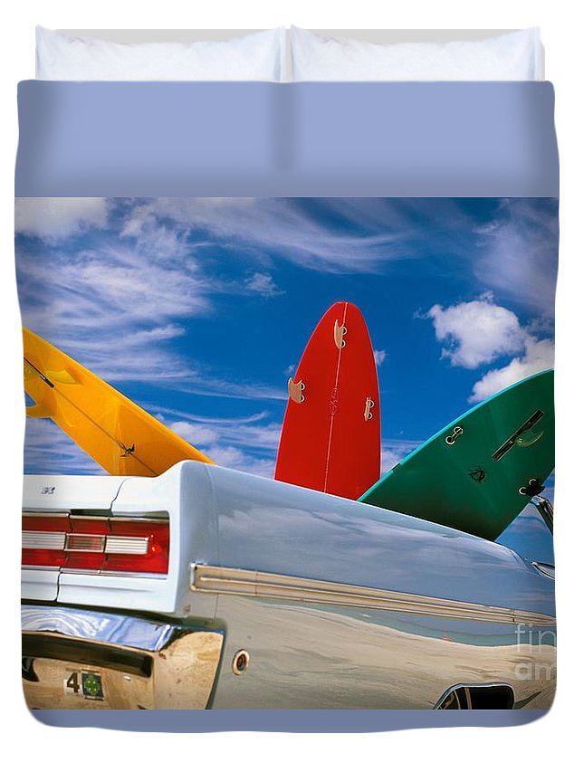 41-csm0213 Duvet Cover featuring the photograph Surboards In A Plymouth by Dana Edmunds - Printscapes