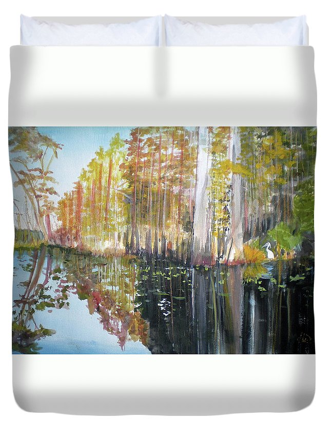 Landscape Of A South Florida Swamp At Dusk Feels Very Wild Duvet Cover featuring the painting Swamp Reflection by Hal Newhouser