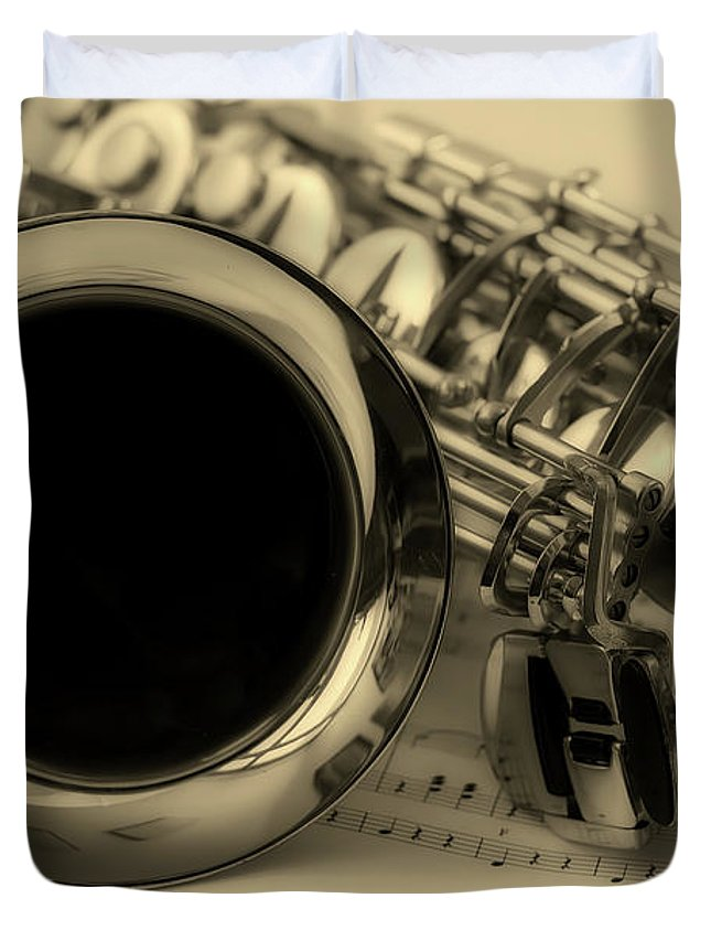 Sax Duvet Cover featuring the photograph Sweet Sounds Of The Sax by Pixabay