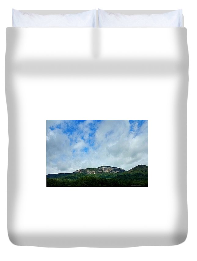 Duvet Cover featuring the digital art Table Rock by Sanctuary of Words Gallery