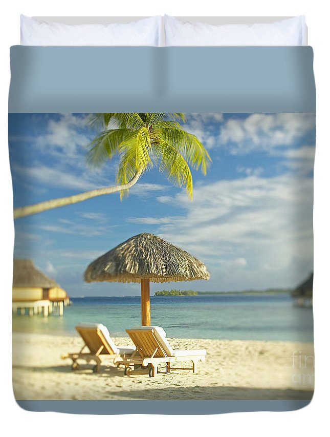 Beach Duvet Cover featuring the photograph Tahiti, Bora Bora by Kyle Rothenborg - Printscapes