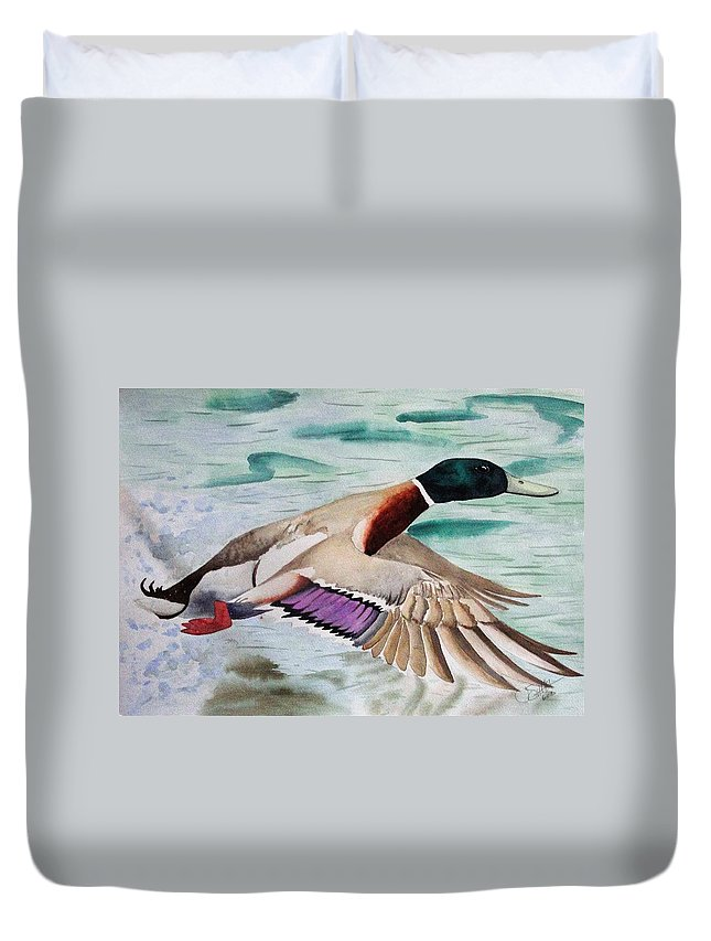 Drake Duvet Cover featuring the painting Takin Off by Jimmy Smith