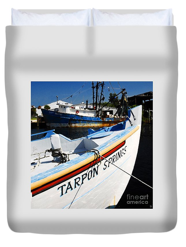 Tarpon Springs Florida Duvet Cover featuring the painting Tarpon Springs by David Lee Thompson