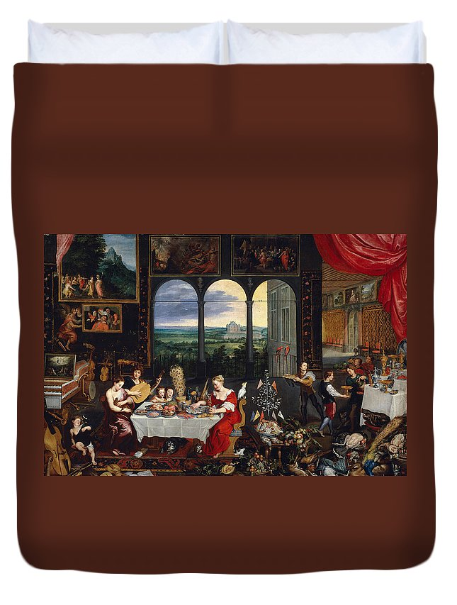 Arts Duvet Cover featuring the painting Taste, Hearing And Touch by Jan Brueghel the Elder