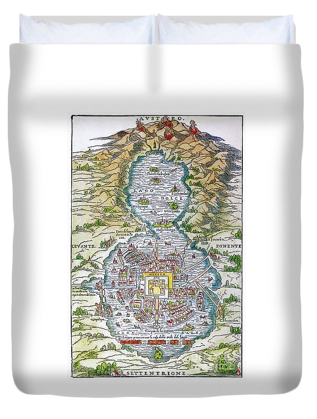1556 Duvet Cover featuring the photograph Tenochtitlan (mexico City) by Granger