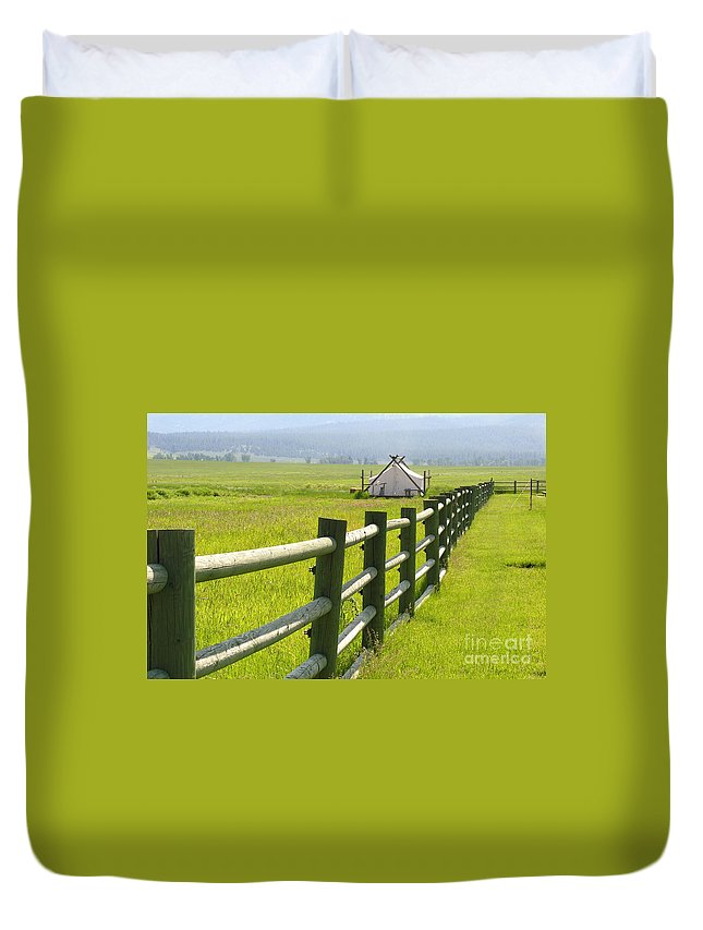 Canvas Duvet Cover featuring the photograph Tent Living Montana by Diane Greco-Lesser