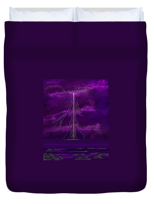 Lightning Storm Duvet Cover featuring the painting Tesla by Anne Norskog