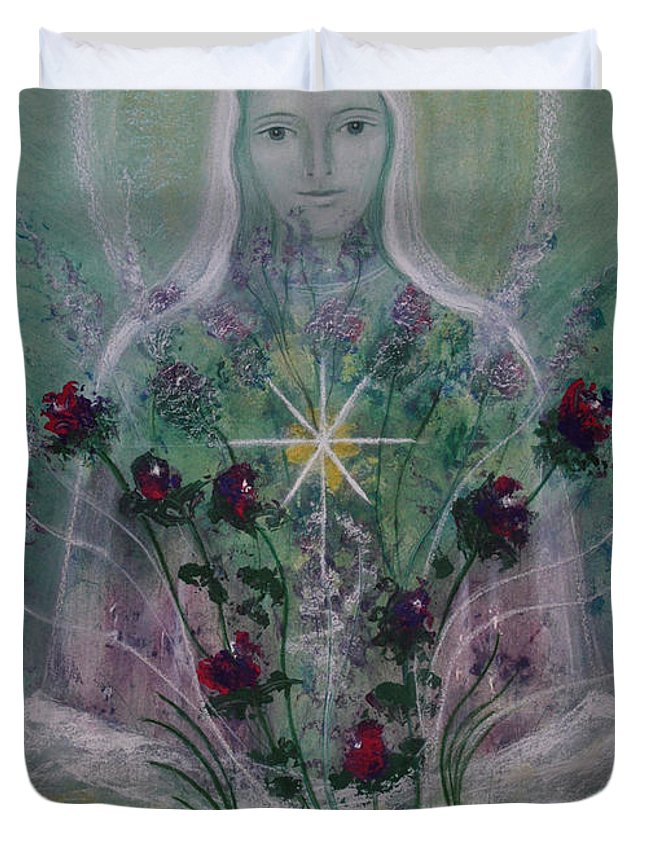 Angel Duvet Cover featuring the painting The Angel Of Roses by Birgitta Thunberg